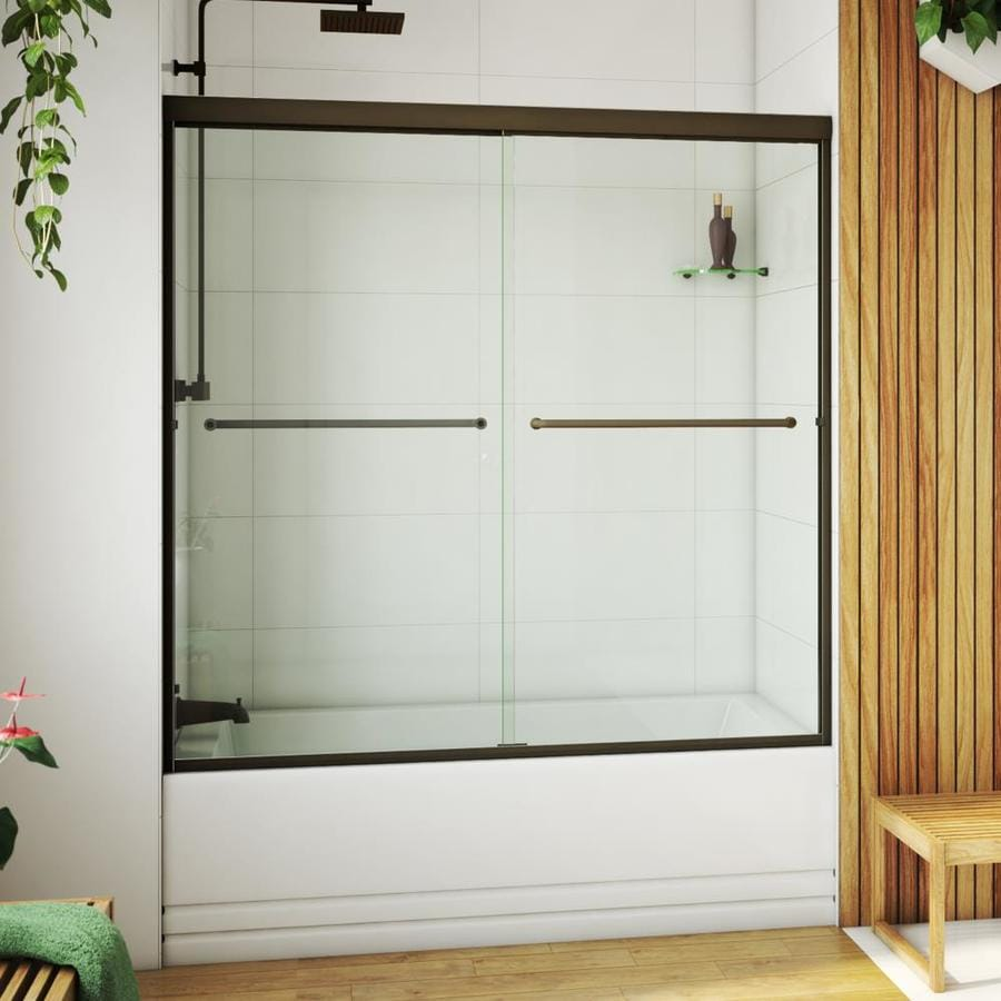 Arizona Shower Door Euro 62-in to 66-in Frameless Anodized Oil-Rubbed Bronze Sliding Shower Door