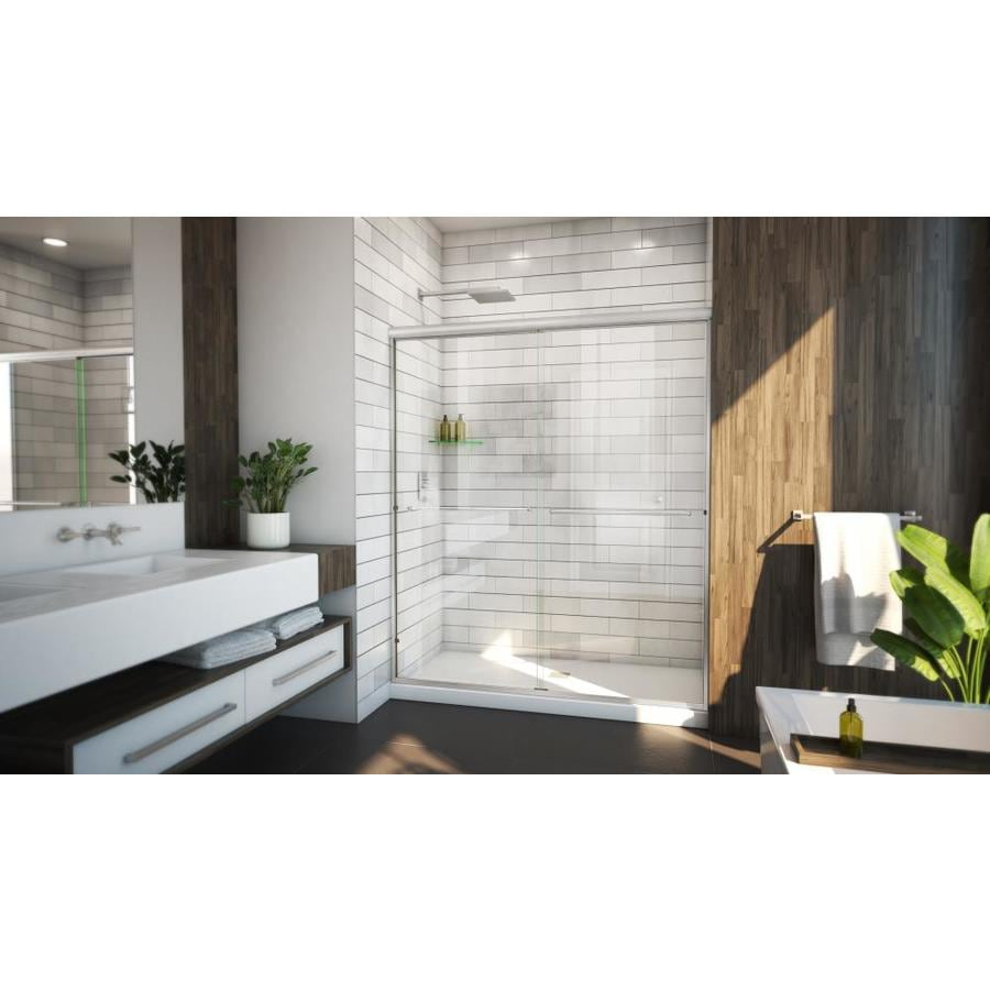 Arizona Shower Door Euro 62-in to 66-in W x 70.375-in H Brushed Nickel Sliding Shower Door