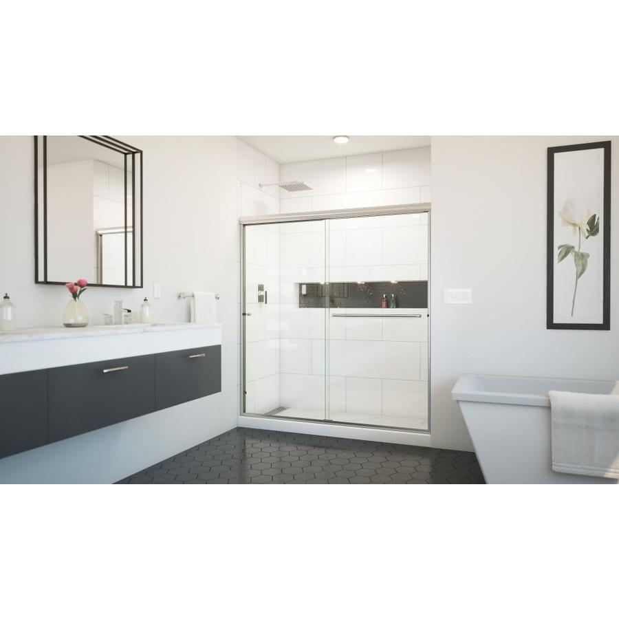 Arizona Shower Door Euro 62-in to 66-in Frameless Brushed Nickel Sliding Shower Door