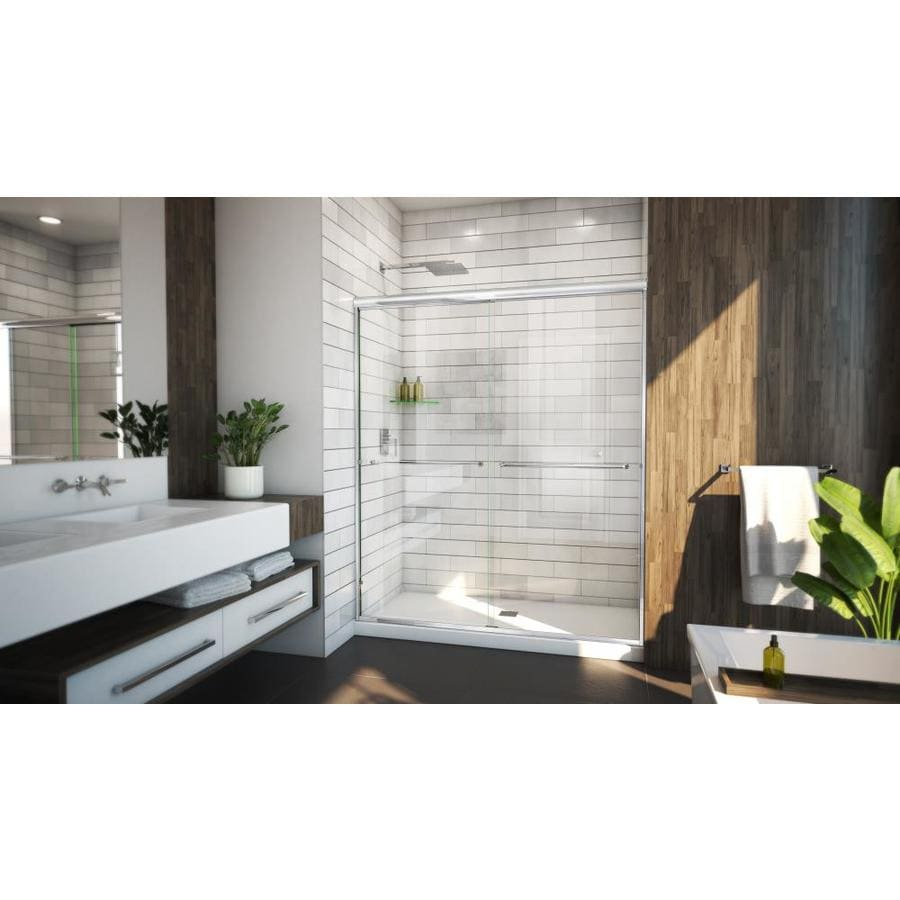 Arizona Shower Door Euro 62-in to 66-in W Semi-frameless Chrome Sliding Shower Door