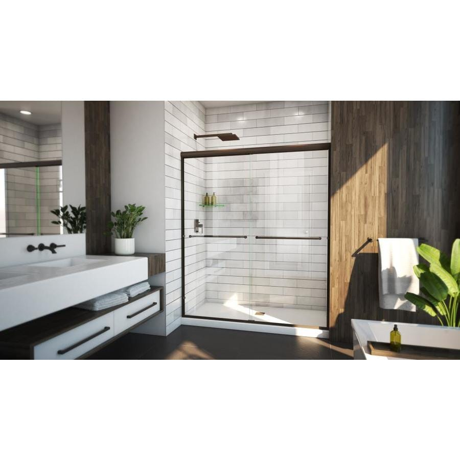 Arizona Shower Door Euro 62-in to 66-in W Frameless Anodized Oil-Rubbed Bronze Sliding Shower Door