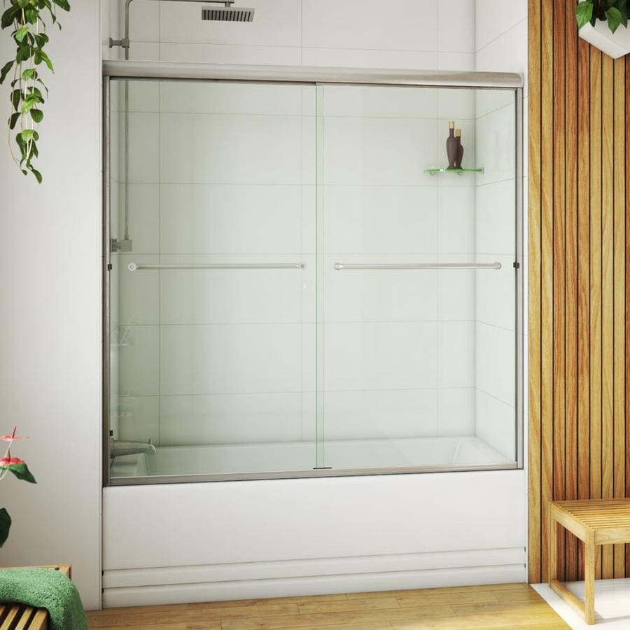 Arizona Shower Door Euro 68-in to 72-in W Semi-frameless Brushed Nickel Sliding Shower Door