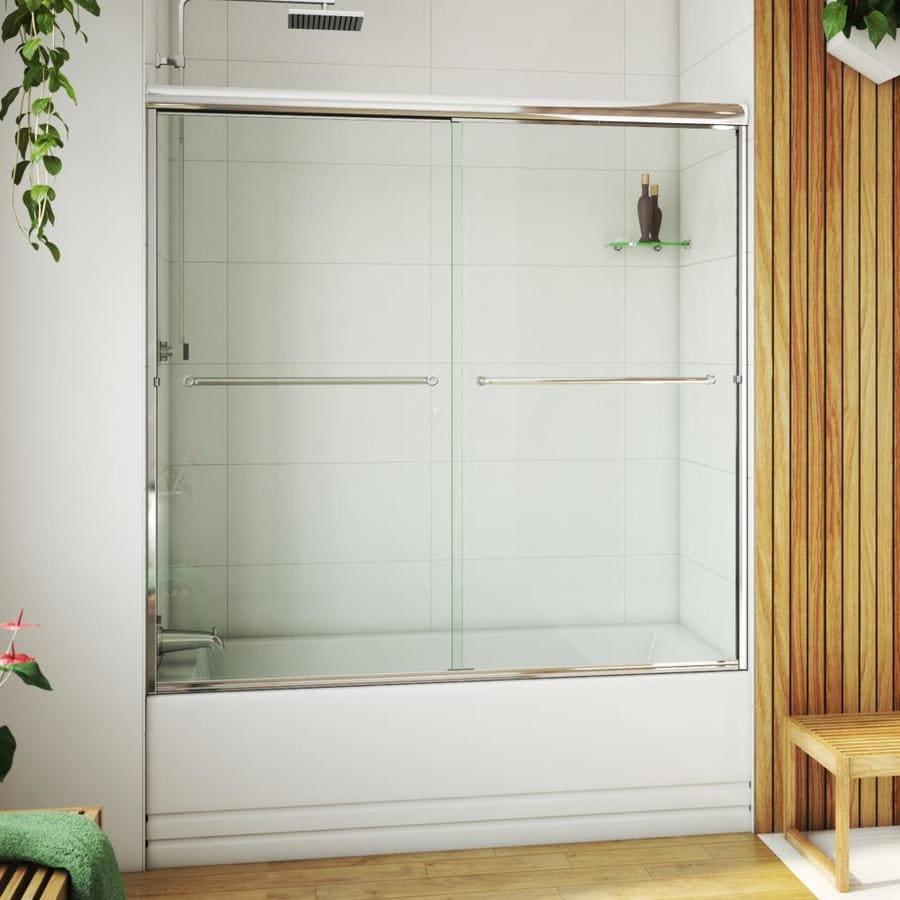 Arizona Shower Door Euro 68-in to 72-in W Semi-frameless Chrome Sliding Shower Door