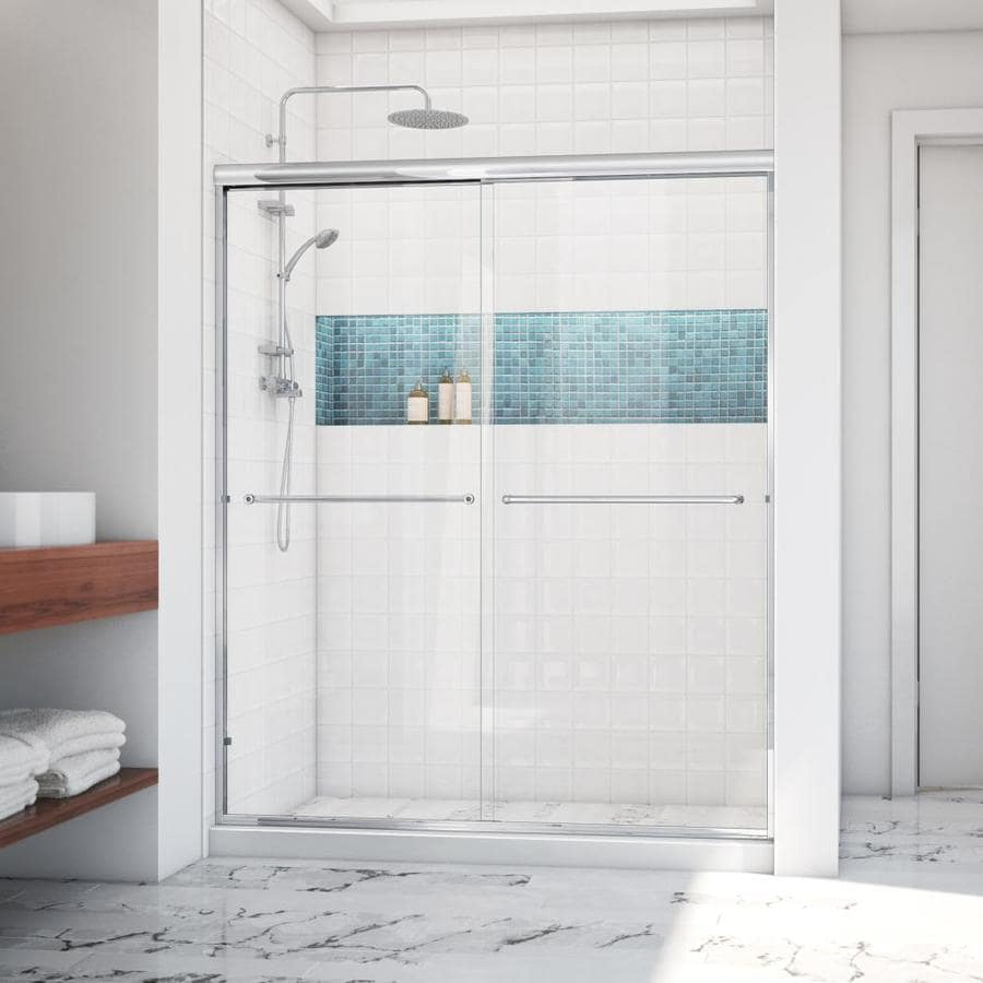 Arizona Shower Door Euro 68-in to 72-in W Semi-frameless Chrome Sliding Shower Door