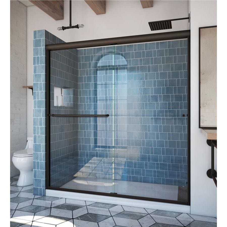 Arizona Shower Door Euro 68-in to 72-in Frameless Anodized Oil-Rubbed Bronze Sliding Shower Door