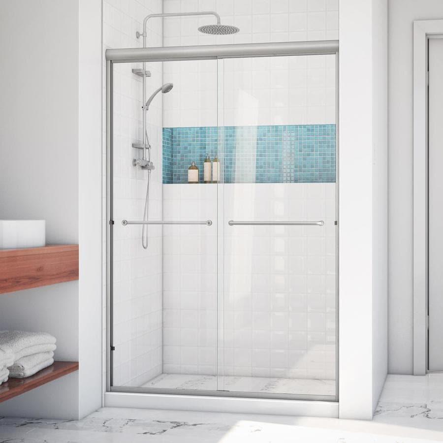 Arizona Shower Door Euro 44-in to 48-in W x 76.375-in H Brushed Nickel Sliding Shower Door