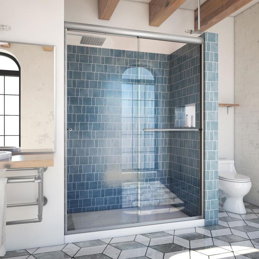 Arizona Shower Door Euro 56-in to 60-in Frameless Brushed Nickel Sliding Shower Door