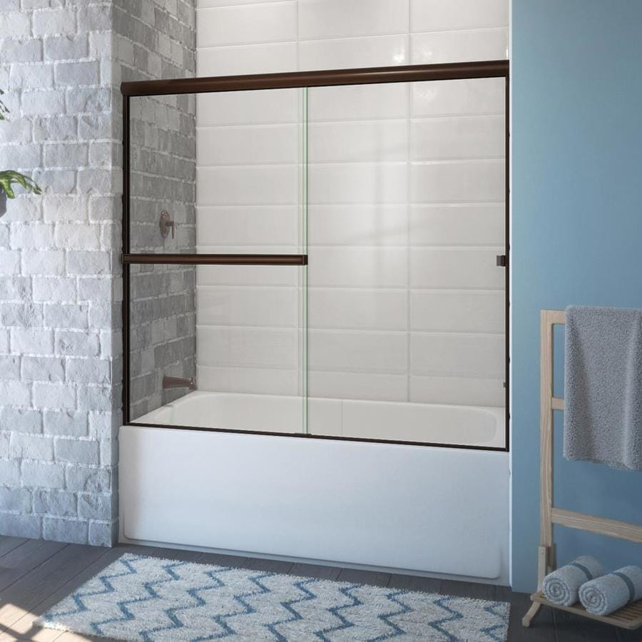Arizona Shower Door Lite Euro 54-in to 58-in W x 56.375-in H Oil-Rubbed Bronze Sliding Shower Door