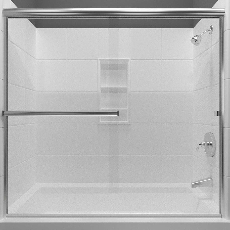 Arizona Shower Door Lite Euro 68-in to 72-in Frameless Chrome Sliding Shower Door