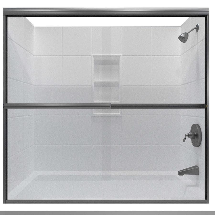 Arizona Shower Door Lite Euro 68-in to 72-in Frameless Brushed Nickel Sliding Shower Door
