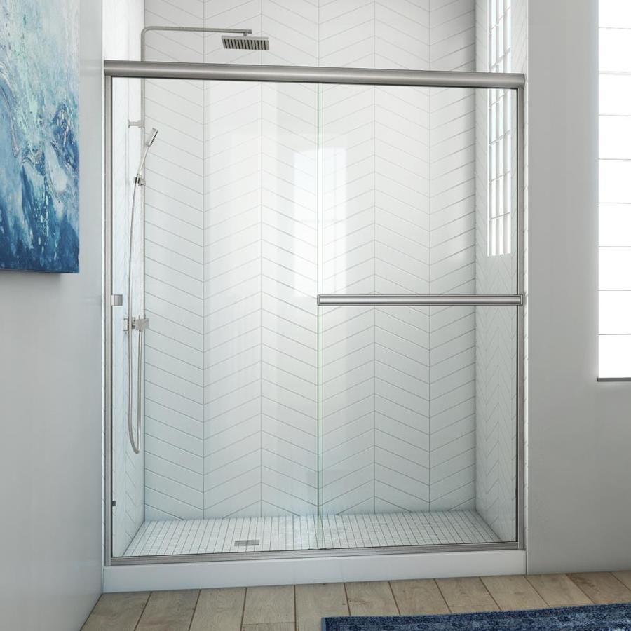 Arizona Shower Door Lite Euro 53-in to 57-in W Frameless Brushed Nickel Sliding Shower Door