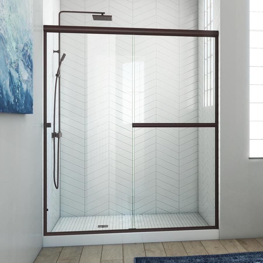 Arizona Shower Door Lite Euro 53-in to 57-in W Frameless Anodized Oil-Rubbed Bronze Sliding Shower Door