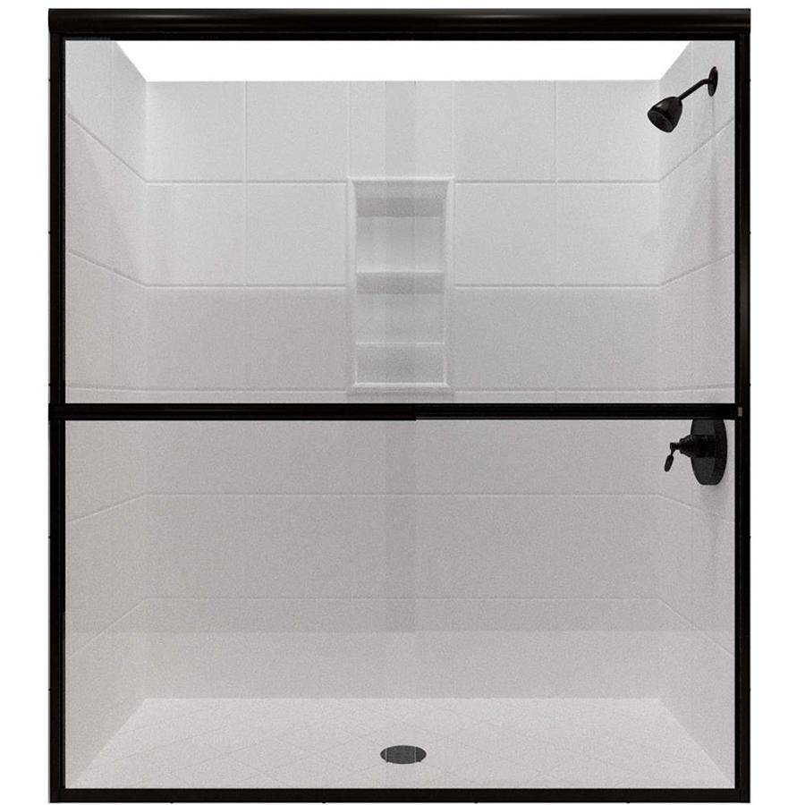 Arizona Shower Door Lite Euro 50-in to 54-in Frameless Anodized Oil-Rubbed Bronze Sliding Shower Door