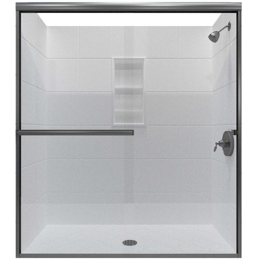 Arizona Shower Door Lite Euro 62-in to 66-in W Semi-frameless Brushed Nickel Sliding Shower Door