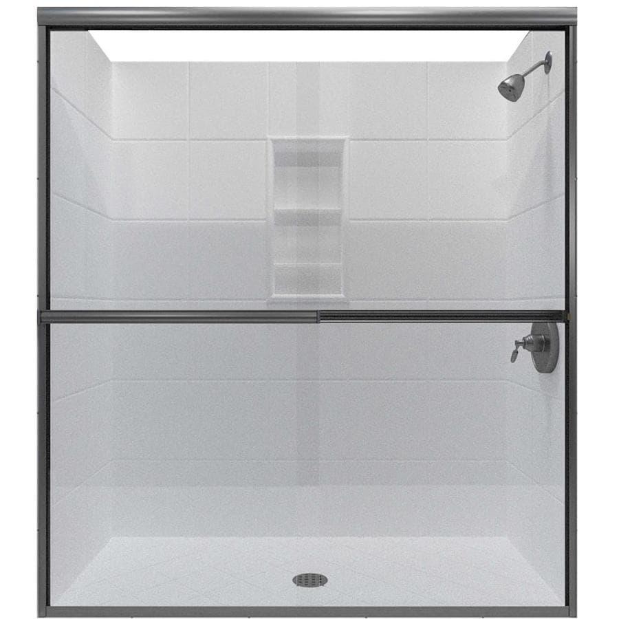 Arizona Shower Door Lite Euro 62-in to 66-in Frameless Brushed Nickel Sliding Shower Door
