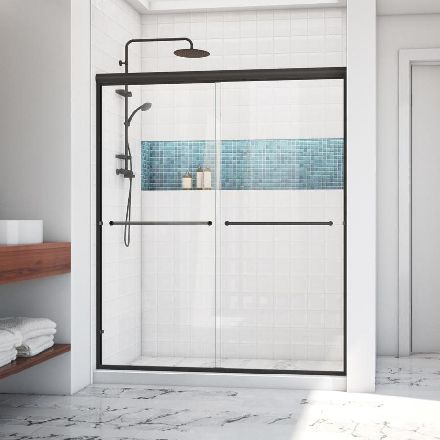 Arizona Shower Door Lite Euro 56-in to 60-in W Semi-frameless Anodized Oil-Rubbed Bronze Sliding Shower Door