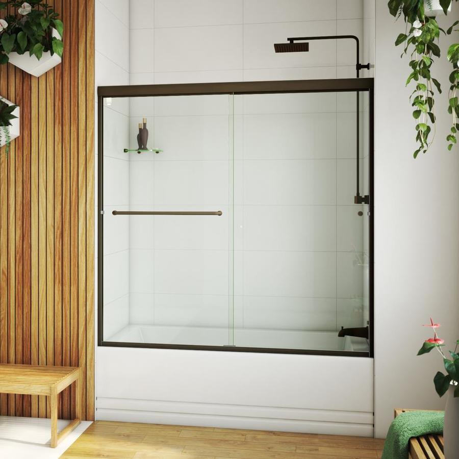 Arizona Shower Door Lite Euro 56-in to 60-in Frameless Anodized Oil-Rubbed Bronze Shower Door