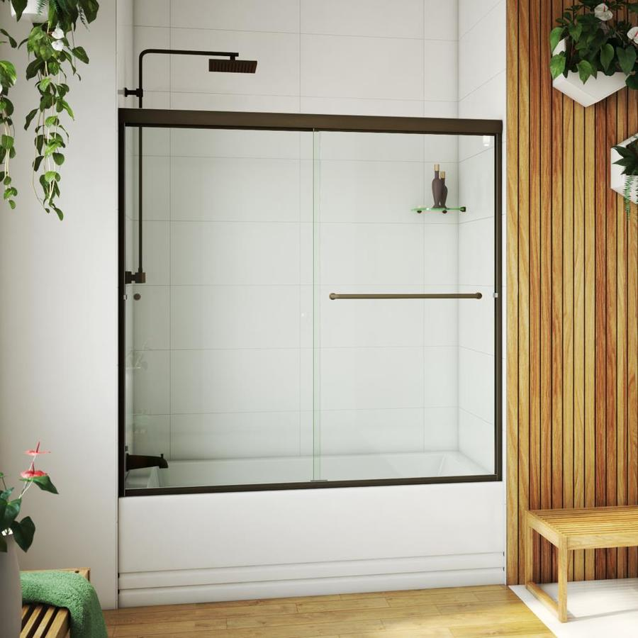 Arizona Shower Door Lite Euro 56-in to 60-in W x 55.375-in H Oil-Rubbed Bronze Sliding Shower Door