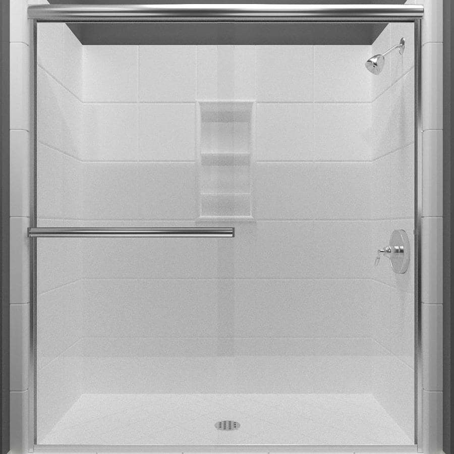 Arizona Shower Door Lite Euro 68-in to 72-in W Semi-frameless Chrome Sliding Shower Door