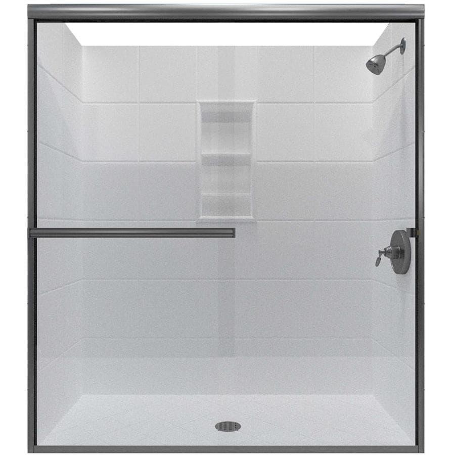 Arizona Shower Door Lite Euro 56-in to 60-in W x 76.375-in H Brushed Nickel Sliding Shower Door