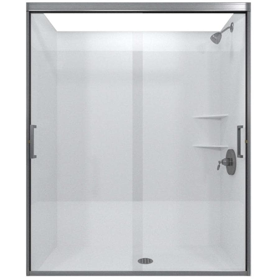 Arizona Shower Door Desert Tombstone 44-in to 48-in W Frameless Brushed Nickel Sliding Shower Door