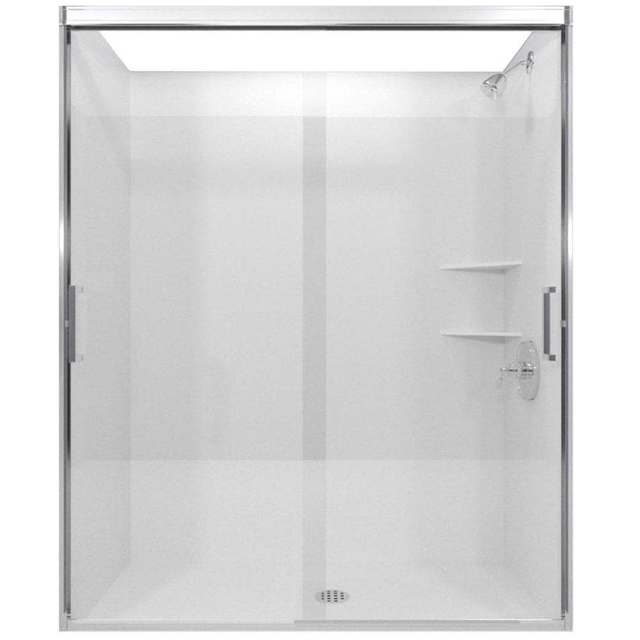 Arizona Shower Door Desert Tombstone 44-in to 48-in W Semi-frameless Chrome Sliding Shower Door