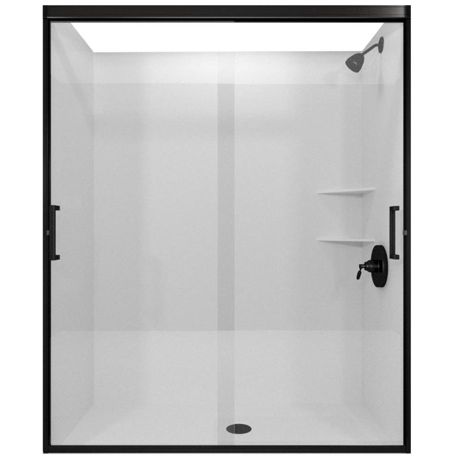 Arizona Shower Door Desert Tombstone 50-in to 54-in Frameless Anodized Oil-Rubbed Bronze Shower Door