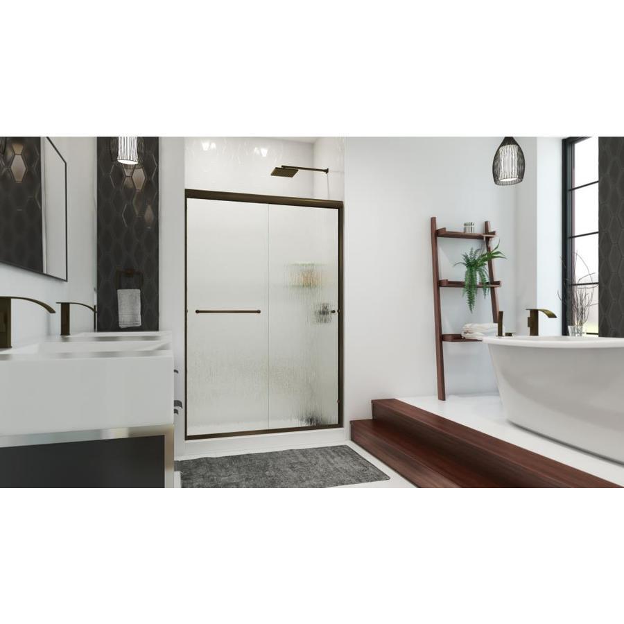 Arizona Shower Door Lite Euro 56-in to 60-in Frameless Anodized Oil-Rubbed Bronze Sliding Shower Door