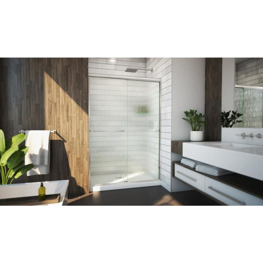 Arizona Shower Door Lite Euro 56-in to 60-in W Semi-frameless Brushed Nickel Sliding Shower Door