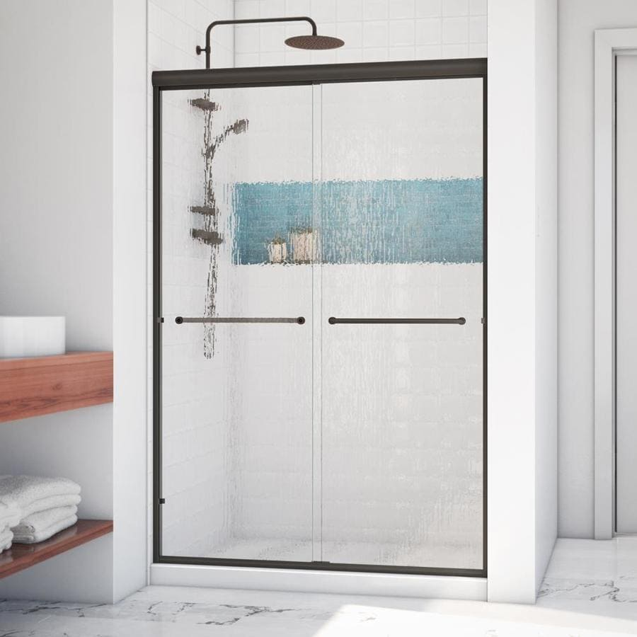 Arizona Shower Door Lite Euro 56-in to 60-in W Frameless Anodized Oil-Rubbed Bronze Sliding Shower Door