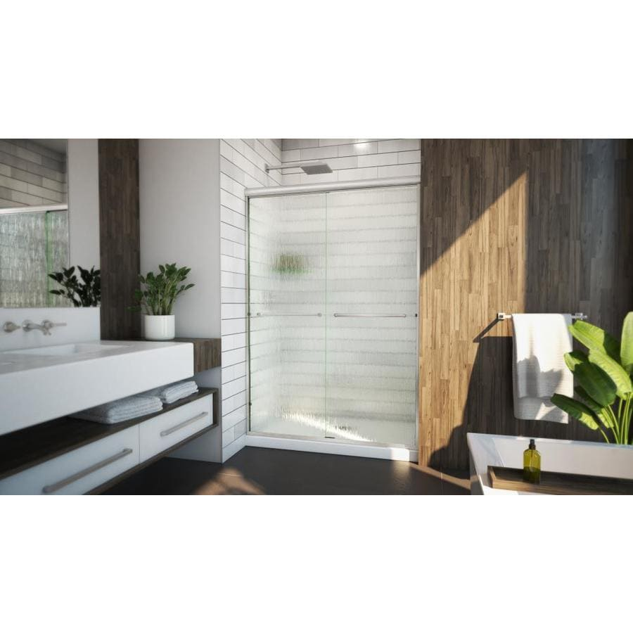 Arizona Shower Door Lite Euro 50-in to 54-in Frameless Brushed Nickel Sliding Shower Door