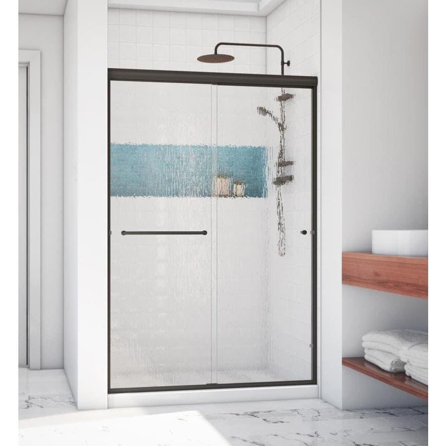 Arizona Shower Door Lite Euro 50-in to 54-in W Semi-frameless Anodized Oil-Rubbed Bronze Sliding Shower Door