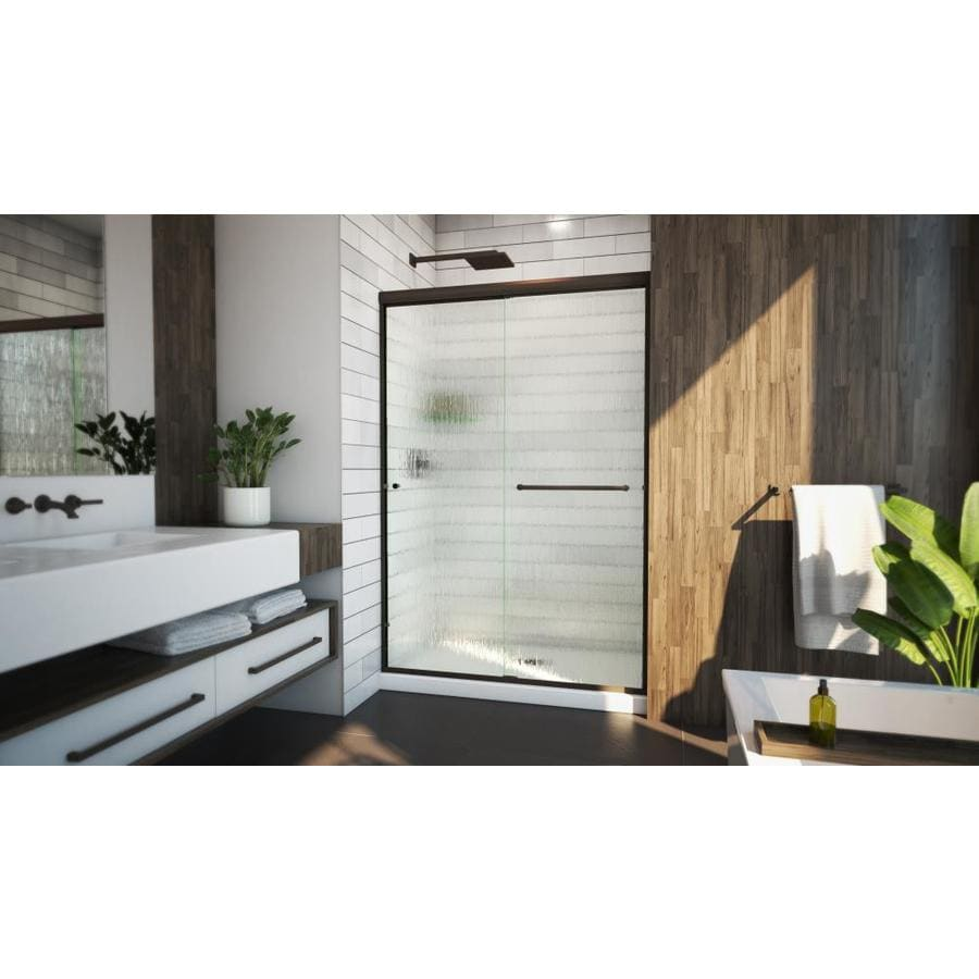 Arizona Shower Door Lite Euro 44-in to 48-in W Frameless Anodized Oil-Rubbed Bronze Sliding Shower Door
