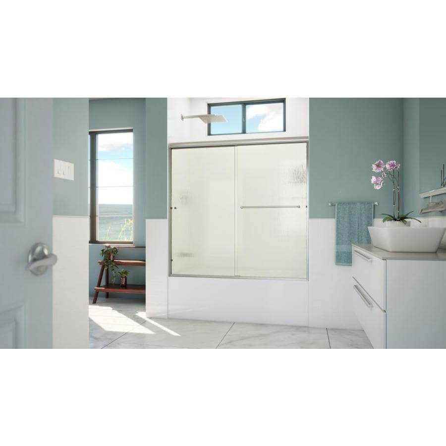 Arizona Shower Door Lite Euro 56-in to 60-in Frameless Brushed Nickel Shower Door