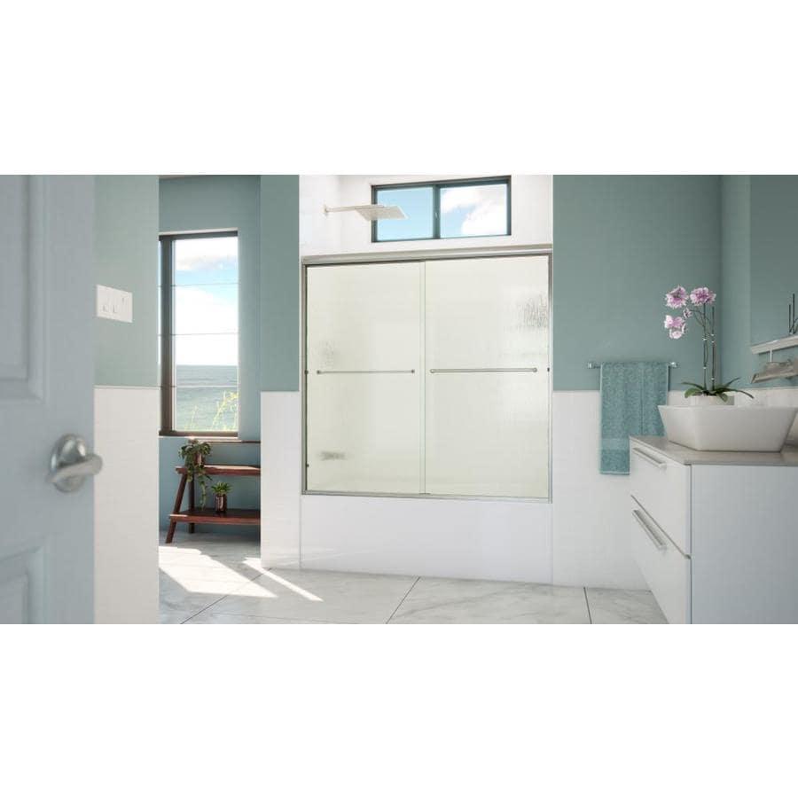 Arizona Shower Door Lite Euro 56-in to 60-in Frameless Brushed Nickel Sliding Shower Door