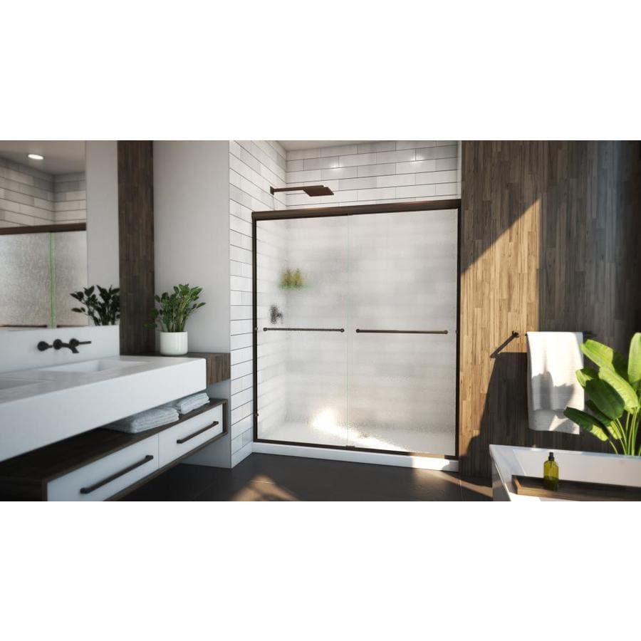 Arizona Shower Door Lite Euro 56-in to 60-in Frameless Anodized Oil-Rubbed Bronze Sliding Shower Door