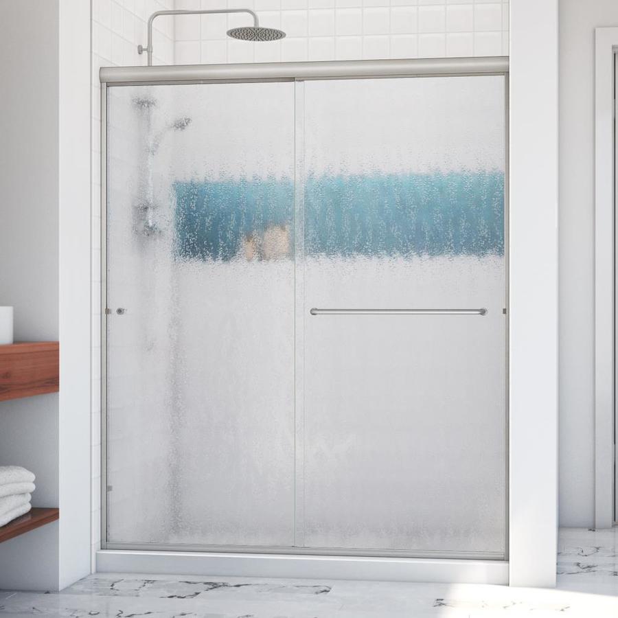 Arizona Shower Door Lite Euro 56-in to 60-in W x 67.375-in H Brushed Nickel Sliding Shower Door