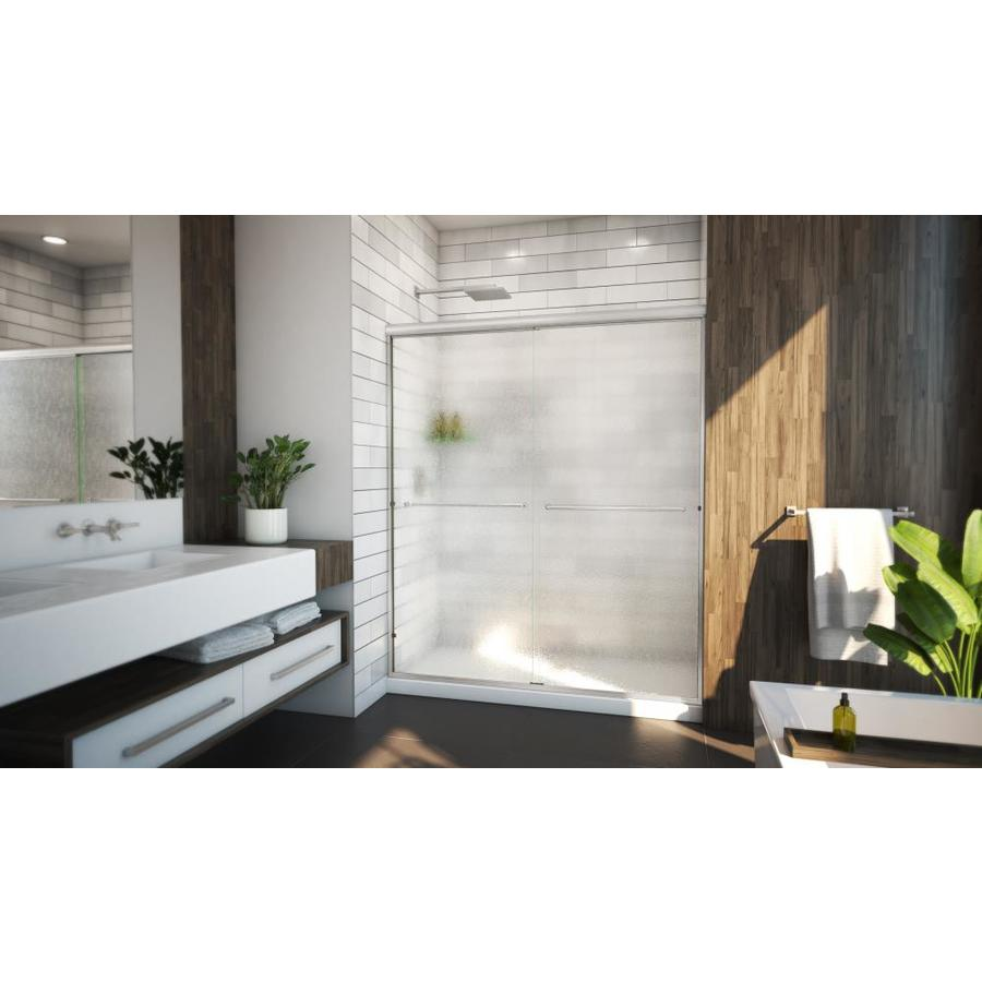 Arizona Shower Door Lite Euro 56-in to 60-in Frameless Brushed Nickel Sliding Shower Door