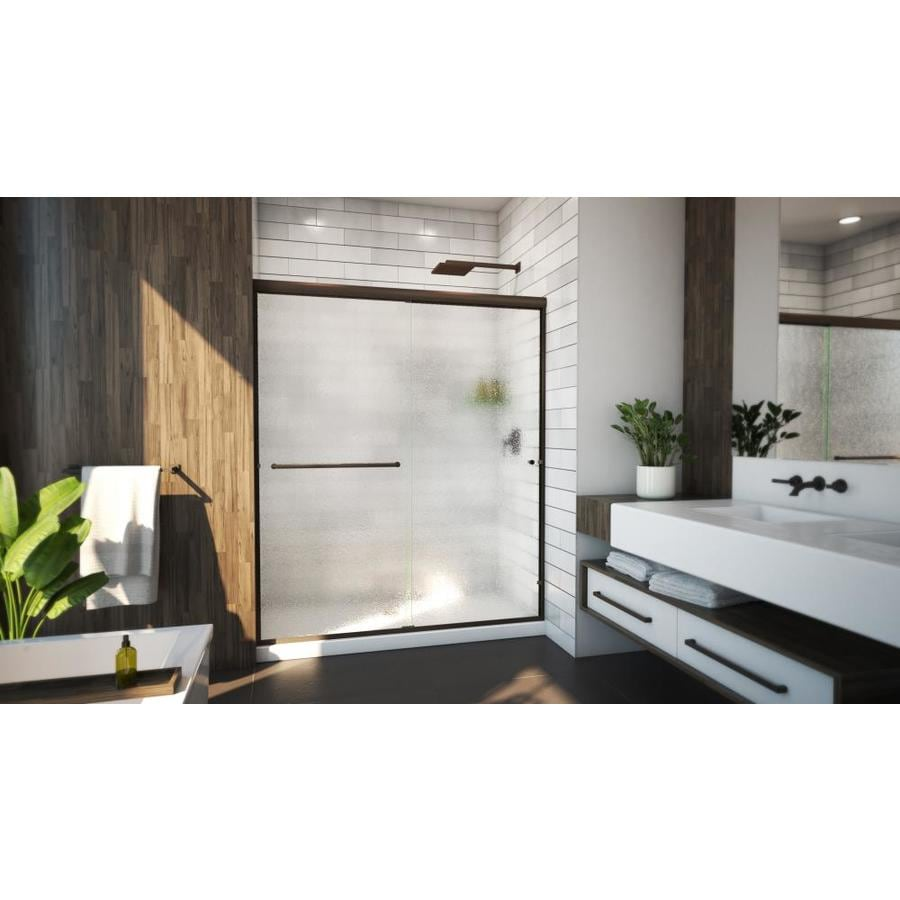 Arizona Shower Door Lite Euro 56-in to 60-in Frameless Anodized Oil-Rubbed Bronze Shower Door