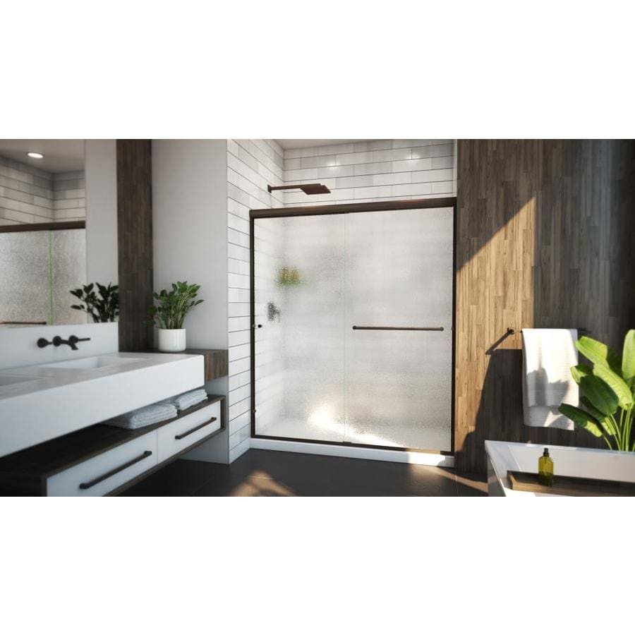 Arizona Shower Door Euro 56-in to 60-in W x 76.375-in H Oil-Rubbed Bronze Sliding Shower Door