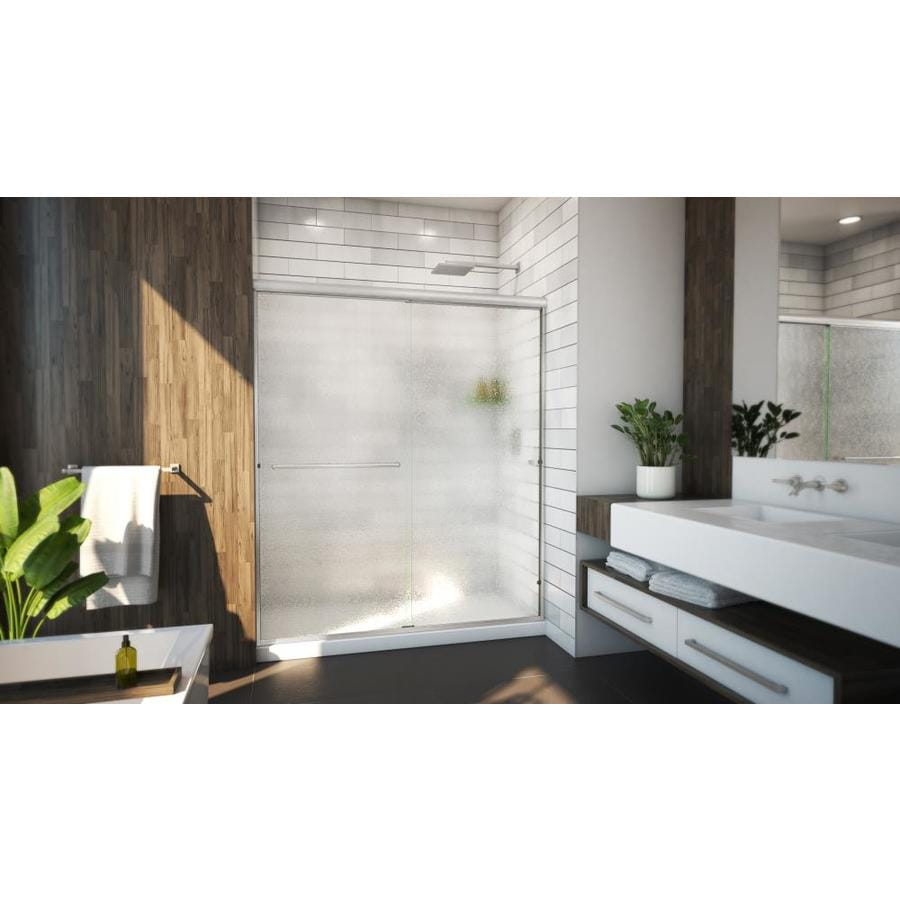 Arizona Shower Door Lite Euro 44-in to 48-in W Frameless Brushed Nickel Sliding Shower Door