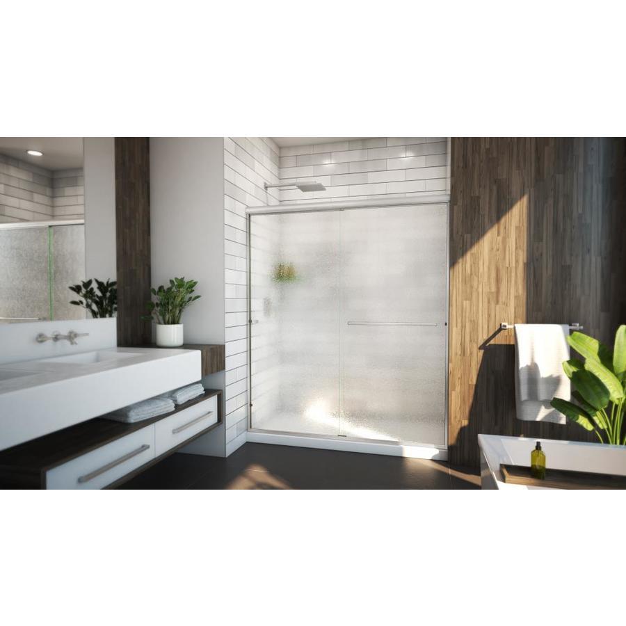 Arizona Shower Door Lite Euro 44-in to 48-in Frameless Brushed Nickel Sliding Shower Door
