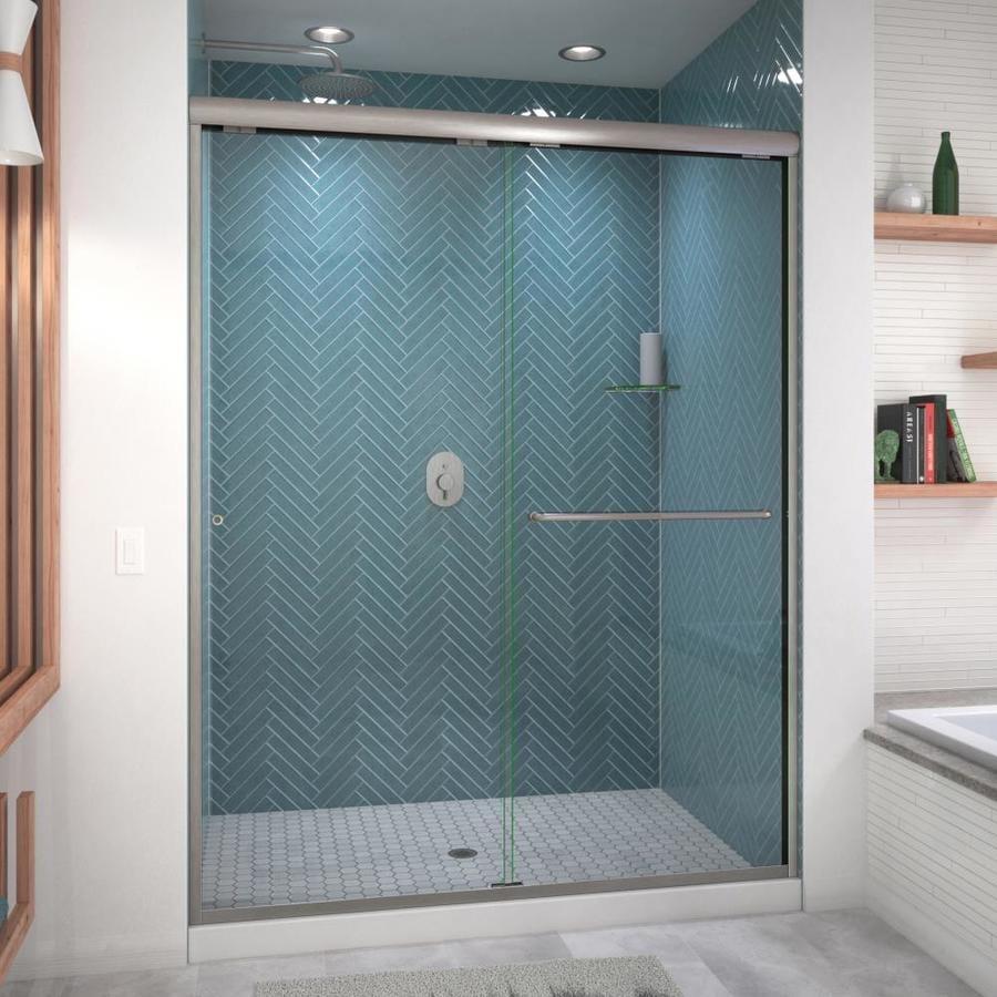Arizona Shower Door Euro 56-in to 60-in W Frameless Brushed Nickel Sliding Shower Door