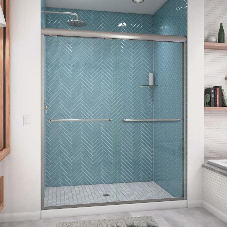 Arizona Shower Door Euro 56-in to 60-in W Frameless Brushed Nickel Sliding Shower Door