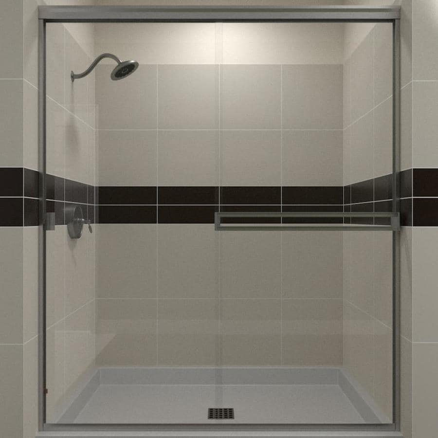 Arizona Shower Door Traditional 41-in to 45-in Frameless Brushed nickel Sliding Shower Door