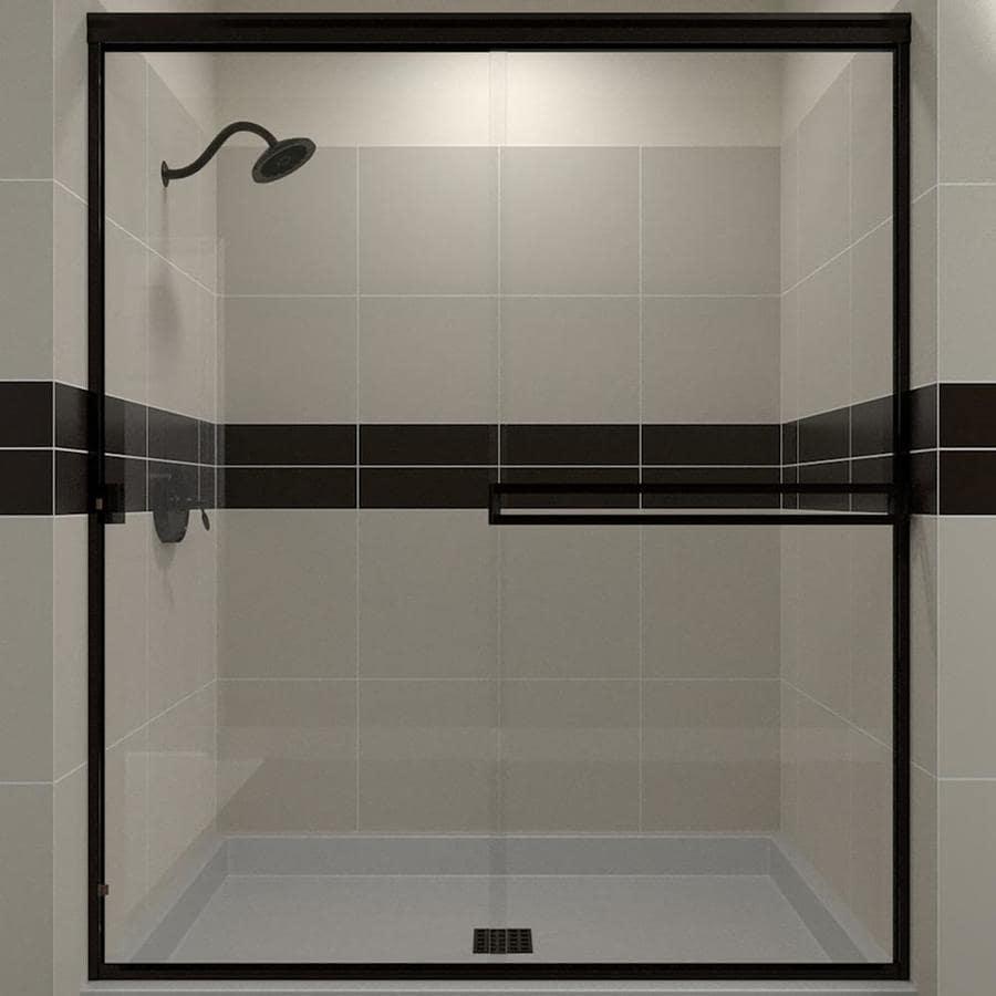 Arizona Shower Door Traditional 43-in to 47-in W Semi-frameless Oil-Rubbed Bronze Sliding Shower Door