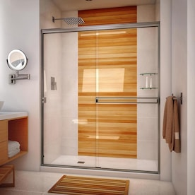 Coastal Shower Doors Illusion Series 66 In H X 60 In To 61 25 In W Frameless Hinged Brushed Nickel Shower Door Clear Glass In The Shower Doors Department At Lowes Com