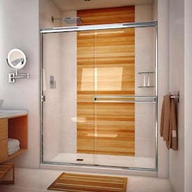 Arizona Shower Door Traditional 67 375 In H X 63 In To 65 In W Semi Frameless Bypass Sliding Brushed Nickel Shower Door Clear Glass In The Shower Doors Department At Lowes Com