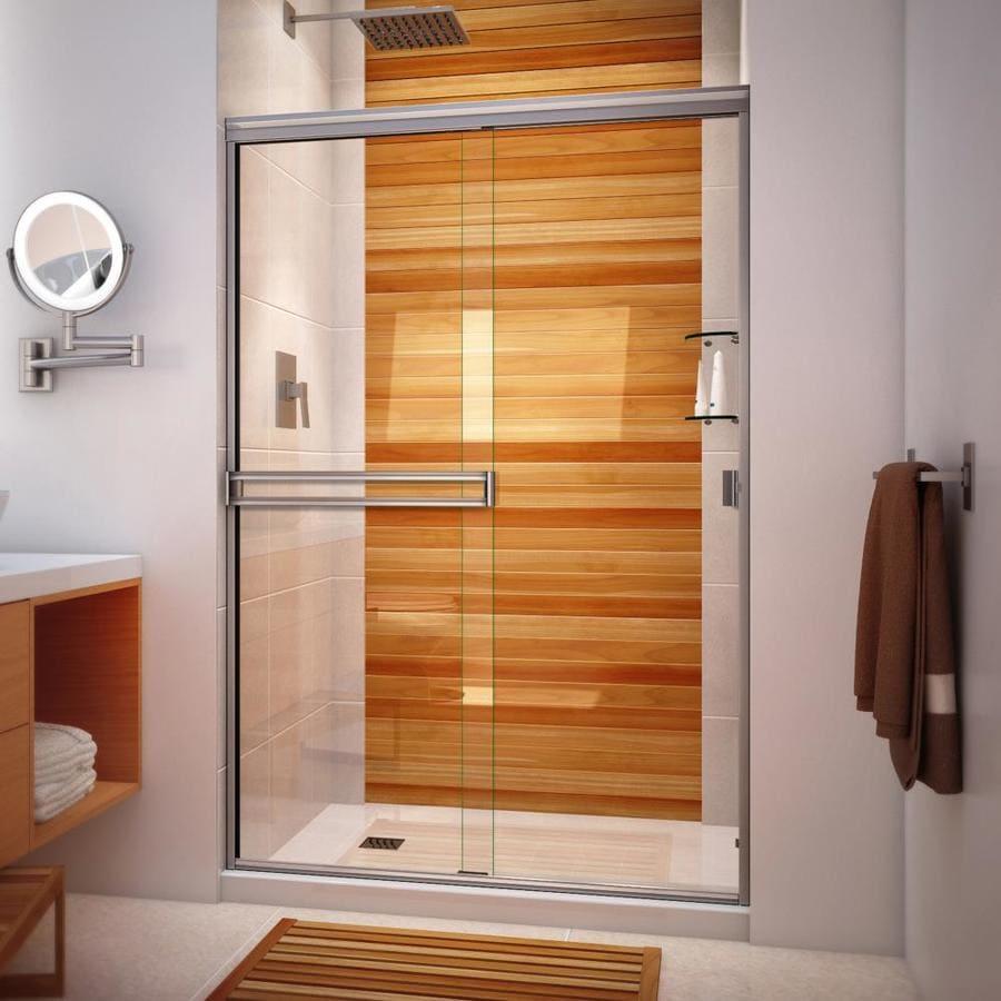 Arizona Shower Door Traditional 44-in to 48-in W Frameless Brushed Nickel Sliding Shower Door