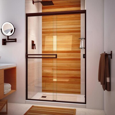 Traditional 46 In To 48 W Semi Frameless Byp Sliding Oil Rubbed Bronze Shower Door
